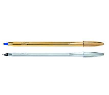 Στυλό Bic Διαρκείας Chine Μοντέρνο σχέδιο σε χρυσό (μπλε μελάνι) και ασημί (μαύρο μελάνι)