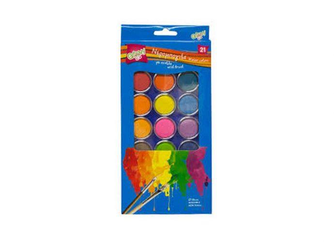 Νερομπογιές Groovy 21 χρώματα Ø 28 mm με πινέλο